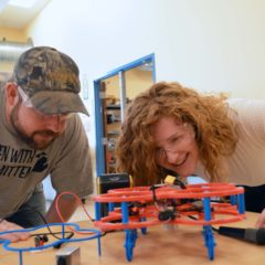 UM-Flint's student chapter of the American Society of Mechanical Engineers has been recognized as one of the best in the nation. (left to right Paul Beiswenger and Samantha Hunsinger; Photo by Logan McGrady/College of Arts and Sciences)