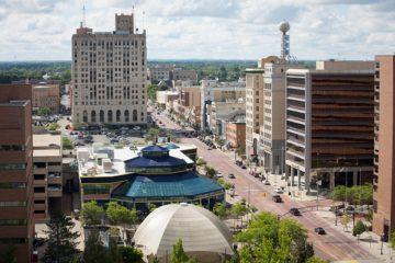 Photo of campus and downtown Saginaw St.