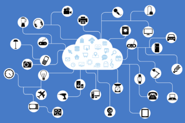 A visual showing different devices connected to a cloud