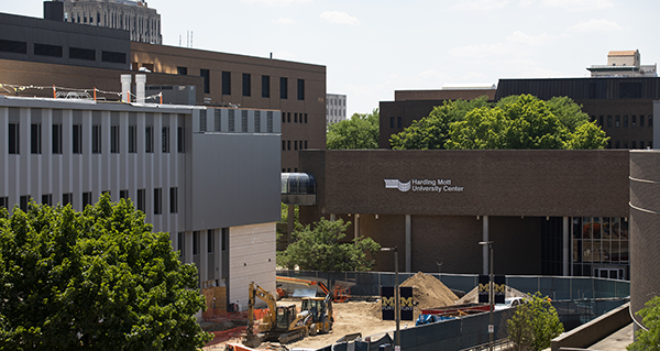 Exterior shot of MSB Expansion construction