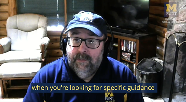 A screenshot of Jeff Dobbs talking in his home