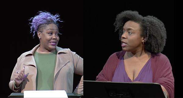 Screenshot of two actors performing Poof!