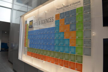 Photo of Donor Wall in Murchie Science Building
