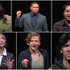 a collage of performers reciting their monologues against a black background