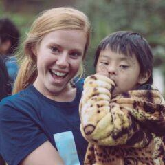 Caroline Markvluwer and Alejandro, a four-year-old boy at Campamento Kewina.