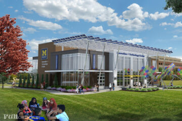 An outside rendering of the Innovation and Technology Center