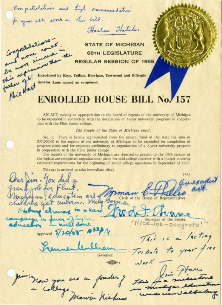 The legislative bill creating the Flint College.