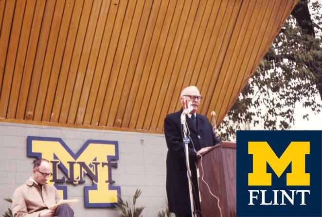 Harding Mott speaking at a podium.