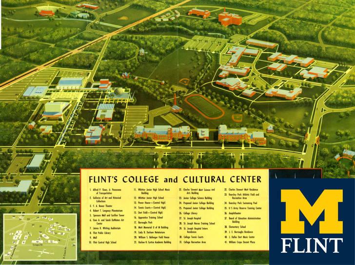 An illustration of the future Flint college overhead.