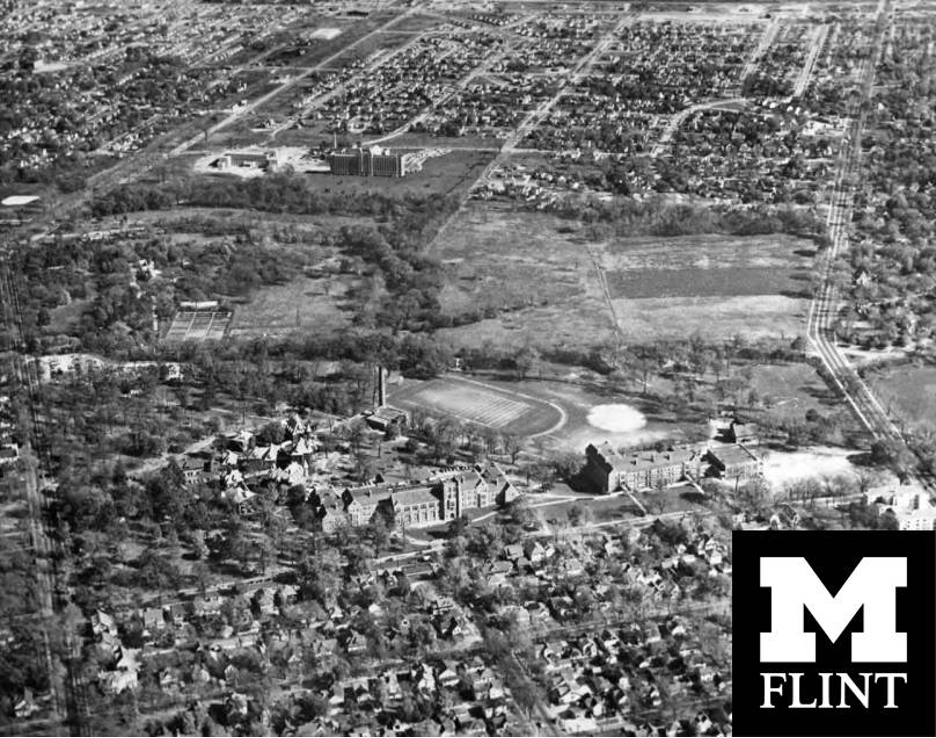 An aerial view of the location of Flint College at the time.