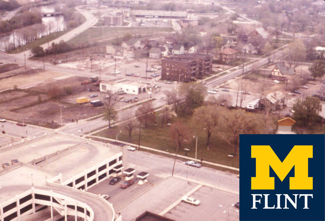 An aerial shot of UM-Flint's current riverfront location